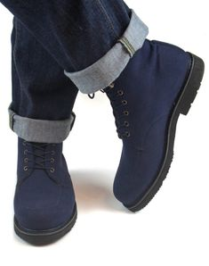 Vegan boots for men made from ecological and sustainable materials. Vegan Boots, Blue Boots, Lace Making, Short Boots, Black Laces, Shoe Brands, New Product, Clogs, Shopping Bag