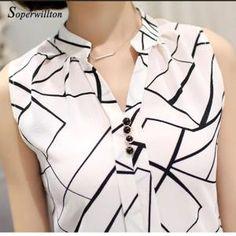 Soperwillton New Summer Chiffon Blouse Women Printed Sleeveless Blouse White Striped Blouses Shirts Female Office Shirt Supernatural Style The Office Shirts, Work Attire, Sleeveless Blouse, Blouse Designs, Shirt Blouses, Blouses For Women, Casual Outfits, Clothes, Striped Blouses