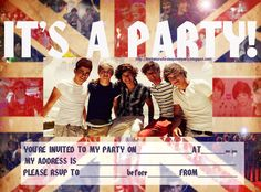 Free : 1D One Direction party invite - Print it and fill in the blanks with the details of your own party like time, date, RSVP details etc.