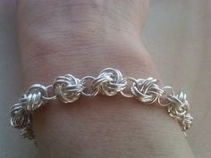 Sterling Silver Chain Maille bracelet with blue Quartz by eemabeth, $78.00