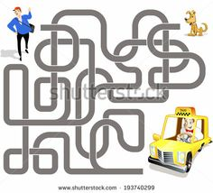 Vector maze game: taxi driver on yellow car find the way to passenger
