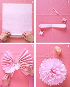 tissue paper pompoms tutorial http://oursomethingnew.wordpress.com/page/4/