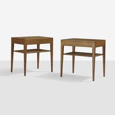 Severin Hansen nightstands, pair Haslev Møbelsnedkeri A/S Denmark, c. 1965 teak, cane 19.5 w x 13.75 d x 19.5 h inches Each nightstand features a single drawer. Signed with applied Danish control tag to underside.