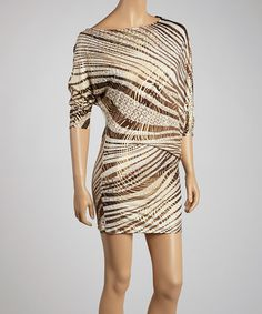 Take a look at this Brown & Gold Zebra Prism Dress by Avital on #zulily today!