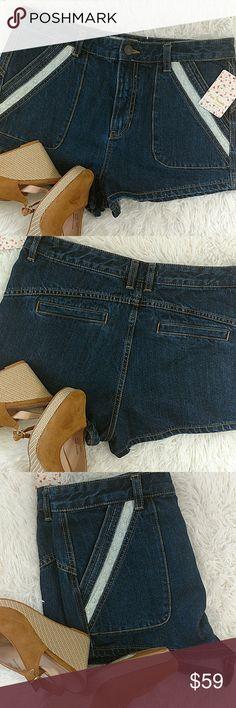"""Free People Denim & Lace Shorts 2"""" Inseam Dark Wash Free People Shorts Jean Shorts"""