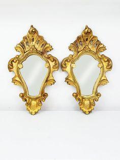 Vintage Italian Mirror Ornate Mirror Gold wall Mirror Wood mirror Small wall mirror Florentine Mirror Vintage wood mirror Italian home decor