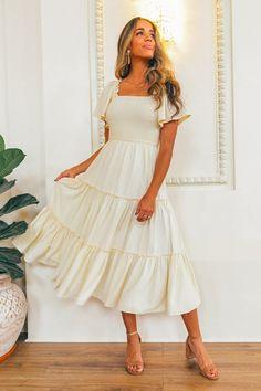 Sicily Dress - Champagne Lining – Ivy City Co Modest Fashion, Fashion Dresses, Modest Clothing, Midi Dresses, Pastel Dresses, Midi Dress Outfit, Romantic Fashion, Smocked Dresses, Work Dresses