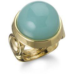 Kara Ross Large Cabochon Gemstone Ring, Aqua Agate