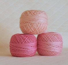 Pretty in Pink - pink and peach crochet thread - on Pink Board by Judi Phillips