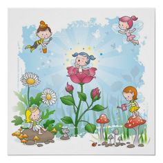 cute cartoon Fairies Art Print for girls nursery fairy decor Kid Character, Fairy Art, Girl Nursery, Cute Cartoon, Fairy Tales, Kids Room, Art Prints, Painting, Girls