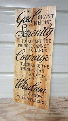 Serenity Prayer Sign, Serenity pallet sign, God grant me the serenity sign, Reclaimed wood sign, Christian decor - Serenity Prayer Sign Serenity pallet sign by ThreeLeafsWoodworks - Reclaimed Wood Signs, Rustic Wood Signs, Birthdate Tattoo, Prayer Crafts, Hanya Tattoo, Prayer Signs, Pallet Signs, Pallet Wood, Board And Brush