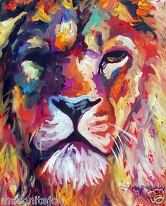 Lion- Red, Orange, Blue, Green, White Abstract Original Art Colorful Canvas by Marc Broadway Art Painting, Animal Art, Art Drawings, Art Projects, Painting, Art, Abstract, Original Art, Colorful Canvas Paintings