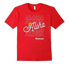 Mens Aloha Mahalo Hawaii Hibiscus T-Shirt Vintage Retro Hipster 2XL Red