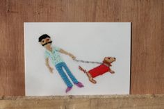 Hipster and dog embroidery postcard