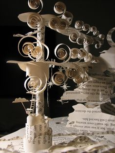 Oona Patterson, paper sculpture: Clouds with birds and star fishermen