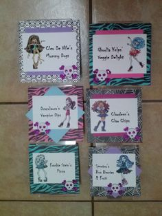 Monster high food signs