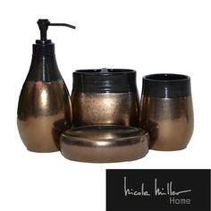 1000 images about bathroom ideas on pinterest vinyl for Gold and silver bathroom accessories