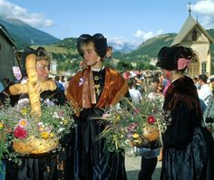 FolkCostume&Embroidery: Costume of the Upper Maurienne, Savoy, France- This is the southernmost of the regions of Savoy, consisting of the valley of the river Arc and  its tributaries, most notably, from the point of view of folklore, the Arvan, the Villard and the Bugeon