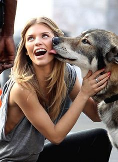 Happy girl with man's best friend.
