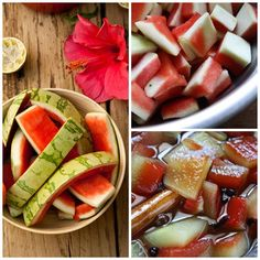 Watermelon Rinds I have tried this at home and it is delicious and a smart way to use some perfectly edible scrap that would otherwise go to waste. Pickled Watermelon Rind, Watermelon Pickles, Spicy Pickles, Sweet Pickles, Canning Recipes, Canning Tips, Sweet And Spicy, Vegetarian Recipes, Food And Drink