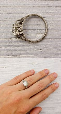 Vintage European Cut Diamond Engagement Ring