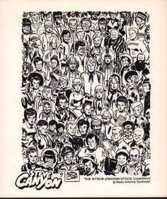 The Steve Canyon Stock Company -- a piece of promotional art featuring the many characters of the Steve Canyon comic strip. On the back of the piece is a handwritten note from Shel Dorf to collector Bill Bush dated 1993.