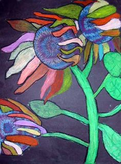 5th graders are working on awesome oil pastel drawings of sunflowers