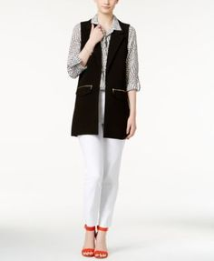 XOXO Juniors' Zipper-Pocket Long Vest & Slim Button-Front Ankle Pants