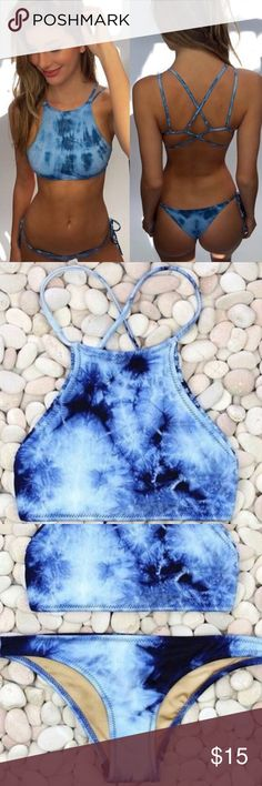 tie-dye blue bikini , padded top padded! i ship same day! no official brand aerie Swim Bikinis