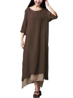 Gracila Layered Split Solid Half Sleeve Vintage Vestido Elegante Mujeres