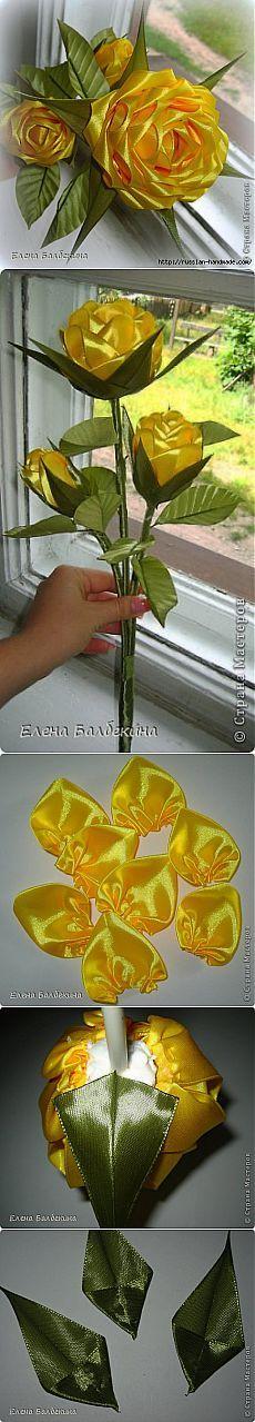Flores de las cintas.  Rosa amarilla.