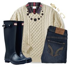 """""""Merry Christmas Ya'll"""" by sc-prep-girl ❤ liked on Polyvore featuring Hollister Co., Hunter and Kate Spade"""