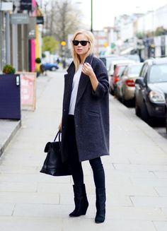 Winter travels in timeless pieces - navy coat and black boots / the love assembly