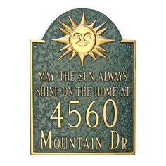 Montague Metal Products Sunshine Address Plaque Finish: Black / Silver, Mounting: Wall