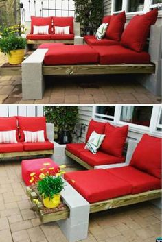 "Backyard Patio Furniture ""DIY Outdoor Cinder Block DIY Concrete Block Furniture Projects - New Sensations Garden"", ""Pallets or wood beams, cinderblocks Cinder Block Furniture, Pallet Furniture, Furniture Projects, Outdoor Furniture Sets, Cinder Blocks, Cinder Block Ideas, Cinder Block Bench, Concrete Furniture, Backyard Furniture"