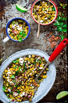 Loaded Mexican Street Corn Sauté  - with flavorful additions like pepitas, Cotija cheese, bacon, pickled jalapenos and cilantro -   Healthy Seasonal Recipes -   sub veggie bacon for a veg version...