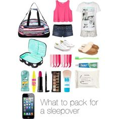 """What to pack for a sleepover (read the d)"" by emmaluvsonedirection on Polyvore:"