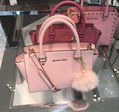 bag pink michael kors michael kors bag light pink baby pink cute love lovely winter outfits summer fall outfits spring fluff poof fluffy purse red studs handles gold tumblr fancy accessory pink michael kors bag cute michael kors bag girly satchel michael kors bag handbag pink bag