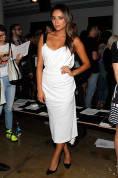 Shay Mitchell.. white Peter Som dress.. NYFW..... - Celebrity Fashion Trends