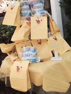 Rubber Ducky goodie bags with sidewalk chalk.