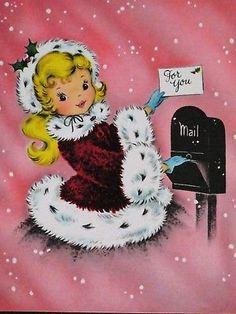 Vintage Christmas Card UNUSED PINK Pretty Girl Burgundy Fur Dress Gloves Mailbox
