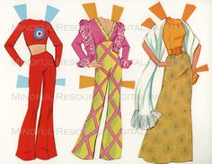 Printable Paperdoll Malibu Barbie Vintage Fashion Paper Doll  1973 w/ 14 Dress Ensembles -Digital Download Sheets Scanned from Originals. $5.00, via Etsy.