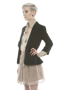 Black Cut-Out Blazer, Beige DL Chiffon Skirt