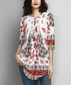 Look what I found on #zulily! White Peacock Notch Neck Pin-Tuck Tunic #zulilyfinds