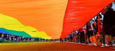 The large rainbow flag closes out the Pride Parade, Utah's second-largest, on Sunday, June 7, 2015. (Francisco Kjolseth  |  The Salt Lake Tribune)