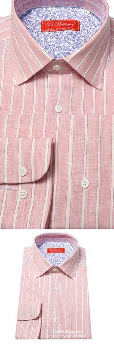 fancy-Stripe Dress Shirt pink/white men's custom tailor made business linen summer blouse designer brand 2018 VA