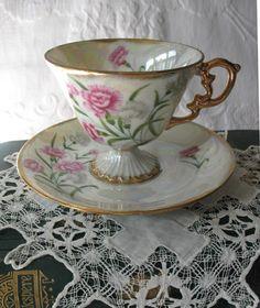 Vintage Footed Tea Cup & Saucer  Pink by WhenRosesBloomShop
