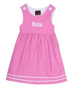 This Pink & White Polka Dot Personalized Tank Dress - Infant & Toddler is perfect! #zulilyfinds