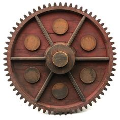 """""""Vintage pattern of a gear with six knobs"""" Origin: Vancouver, BC, Canada, 1950's-60's Material: Wood Size: D=600 mm Geararium. Museum of gears & toothed wheels"""