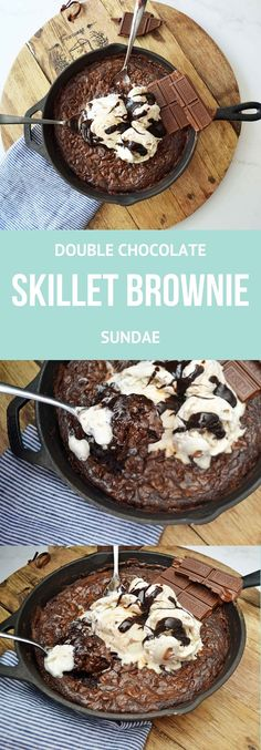 Rich, decadent double chocolate brownie baked in a cast iron skillet, topped with salted caramel ice cream, drizzled with hot fudge, and garnished with chunks of chocolate.